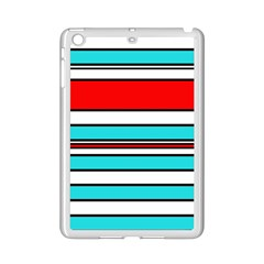 Blue, red, and white lines iPad Mini 2 Enamel Coated Cases