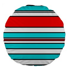 Blue, red, and white lines Large 18  Premium Round Cushions