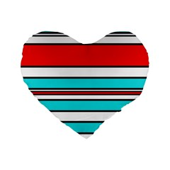 Blue, red, and white lines Standard 16  Premium Heart Shape Cushions
