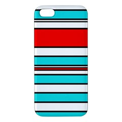 Blue, red, and white lines Apple iPhone 5 Premium Hardshell Case
