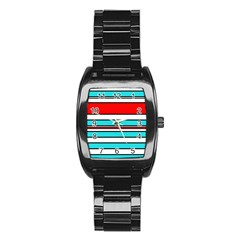 Blue, red, and white lines Stainless Steel Barrel Watch