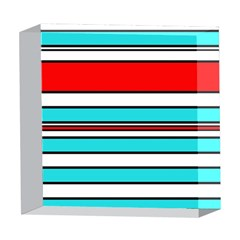 Blue, red, and white lines 5  x 5  Acrylic Photo Blocks