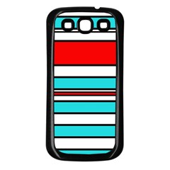 Blue, red, and white lines Samsung Galaxy S3 Back Case (Black)