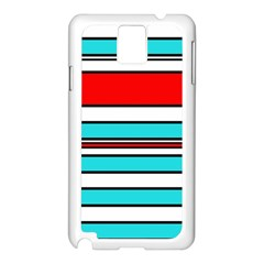 Blue, red, and white lines Samsung Galaxy Note 3 N9005 Case (White)