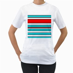 Blue, red, and white lines Women s T-Shirt (White)