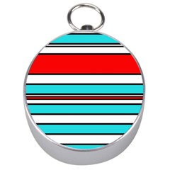 Blue, red, and white lines Silver Compasses