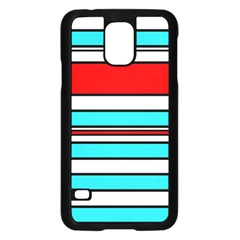 Blue, red, and white lines Samsung Galaxy S5 Case (Black)