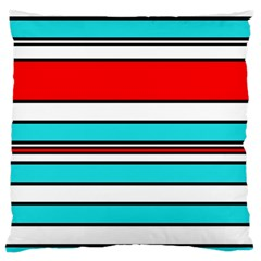 Blue, red, and white lines Standard Flano Cushion Case (One Side)
