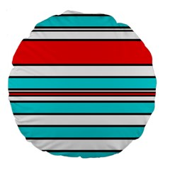 Blue, red, and white lines Large 18  Premium Flano Round Cushions