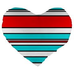 Blue, red, and white lines Large 19  Premium Flano Heart Shape Cushions
