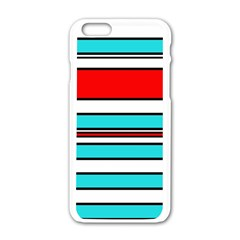 Blue, red, and white lines Apple iPhone 6/6S White Enamel Case