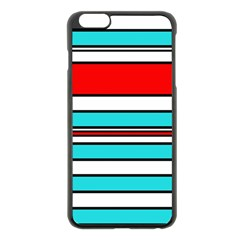 Blue, red, and white lines Apple iPhone 6 Plus/6S Plus Black Enamel Case