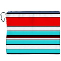 Blue, red, and white lines Canvas Cosmetic Bag (XXXL)