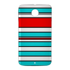 Blue, red, and white lines Nexus 6 Case (White)