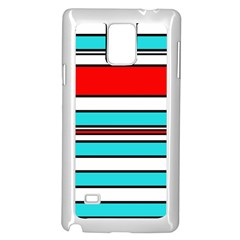 Blue, red, and white lines Samsung Galaxy Note 4 Case (White)