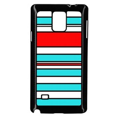 Blue, red, and white lines Samsung Galaxy Note 4 Case (Black)