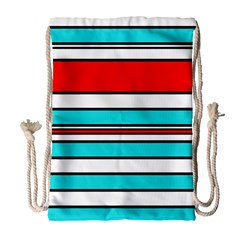 Blue, red, and white lines Drawstring Bag (Large)