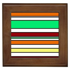 Green, orange and yellow lines Framed Tiles