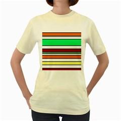 Green, orange and yellow lines Women s Yellow T-Shirt