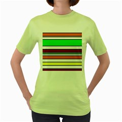 Green, orange and yellow lines Women s Green T-Shirt