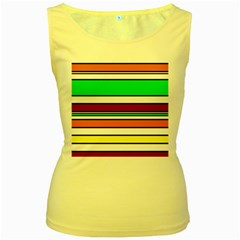 Green, orange and yellow lines Women s Yellow Tank Top
