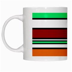 Green, Orange And Yellow Lines White Mugs