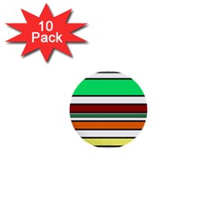 Green, orange and yellow lines 1  Mini Buttons (10 pack)