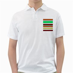 Green, orange and yellow lines Golf Shirts