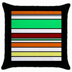 Green, orange and yellow lines Throw Pillow Case (Black)