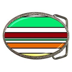 Green, orange and yellow lines Belt Buckles