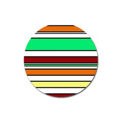 Green, orange and yellow lines Magnet 3  (Round)