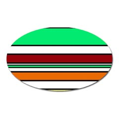Green, orange and yellow lines Oval Magnet