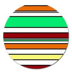 Green, orange and yellow lines Magnet 5  (Round)