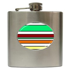 Green, orange and yellow lines Hip Flask (6 oz)