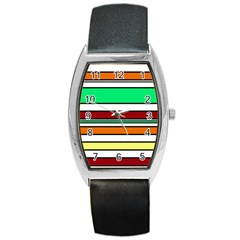 Green, orange and yellow lines Barrel Style Metal Watch