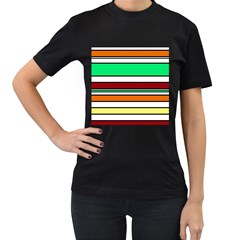 Green, orange and yellow lines Women s T-Shirt (Black) (Two Sided)