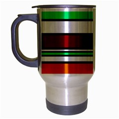 Green, orange and yellow lines Travel Mug (Silver Gray)