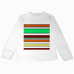 Green, orange and yellow lines Kids Long Sleeve T-Shirts