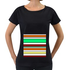Green, orange and yellow lines Women s Loose-Fit T-Shirt (Black)