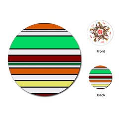 Green, orange and yellow lines Playing Cards (Round)