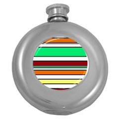 Green, orange and yellow lines Round Hip Flask (5 oz)