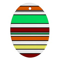 Green, orange and yellow lines Oval Ornament (Two Sides)