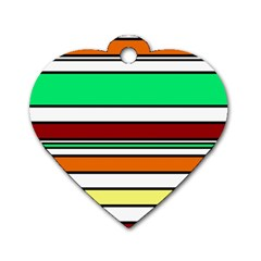 Green, orange and yellow lines Dog Tag Heart (Two Sides)