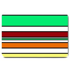 Green, orange and yellow lines Large Doormat