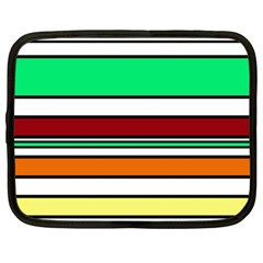 Green, orange and yellow lines Netbook Case (Large)