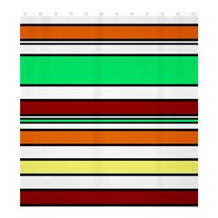 Green, orange and yellow lines Shower Curtain 66  x 72  (Large)