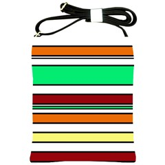 Green, orange and yellow lines Shoulder Sling Bags
