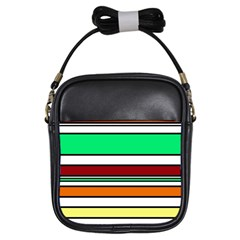 Green, orange and yellow lines Girls Sling Bags
