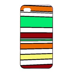 Green, orange and yellow lines Apple iPhone 4/4s Seamless Case (Black)
