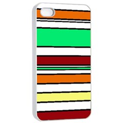 Green, orange and yellow lines Apple iPhone 4/4s Seamless Case (White)